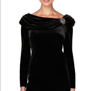 Alex Evenings  Velvet Long Sleeve Boat Neck Blouse